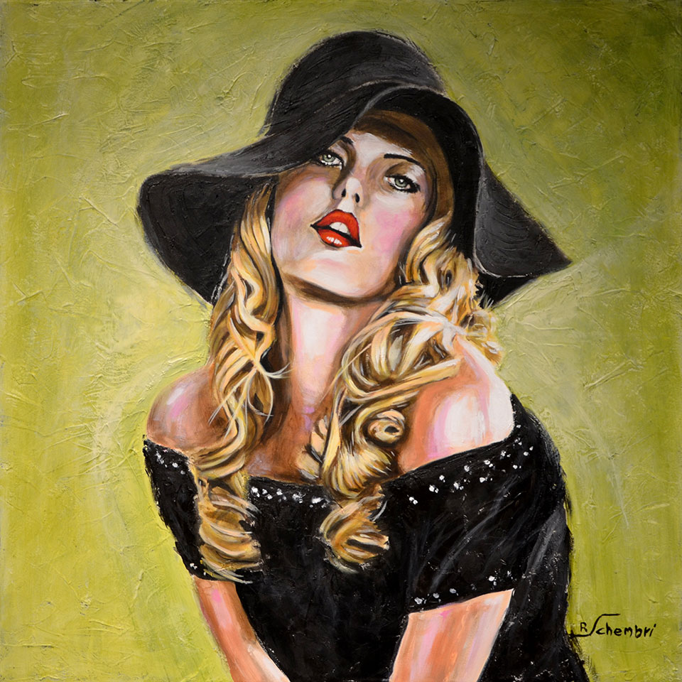 1670 - Donna con cappello - 60x60 (Non disponibile)